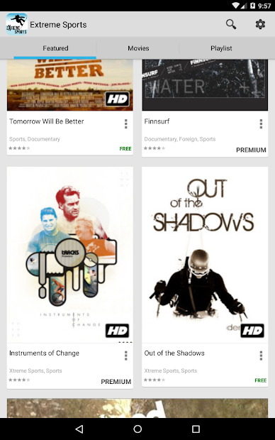 Watch Extreme Sports movies and documentaries, with this app